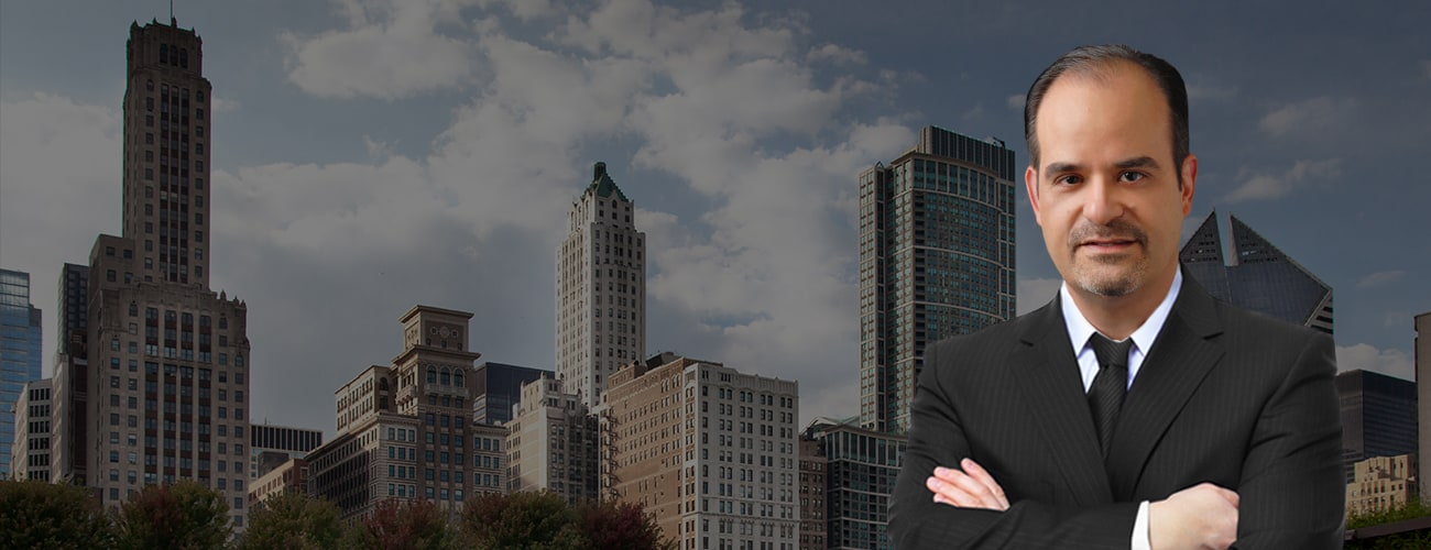 Hero Banner - Attorney Profile Picture over a skyline of Schaumburg Il
